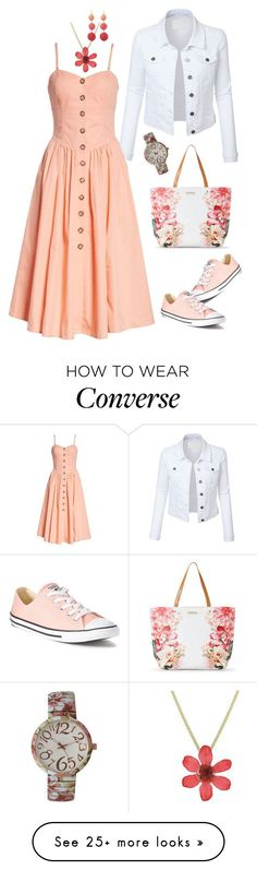 """Geen titel #859"" by miriam-witte on Polyvore featuring LE3NO, Free People, Converse, Tahari, NOVICA, Kenneth Jay Lane and Olivia Pratt #swagoutfits"