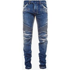 Balmain Regular-fit vintage cotton denim biker jeans ($1,160) ❤ liked on Polyvore featuring men's fashion, men's clothing, men's jeans, mens biker jeans, mens regular fit jeans, mens blue jeans, mens destroyed jeans and mens distressed jeans