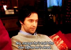 Harry  (gif) - that adorable smile! (Comment about Owen's taxes.)