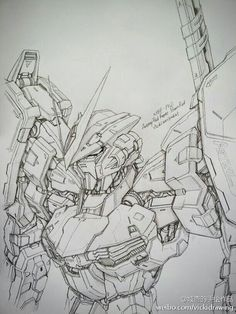Gundam and Mobile Suit Pencil Drawings by Vicki of PIXIV - Gundam Kits…