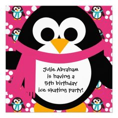Pink Penguin Party Invitation