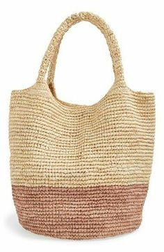 Straw Studios Colorblock Straw Shoulder Bag available at Discover thousands of images about Caslon® Stripe Crochet Straw Shoulder Bag This Pin was discovered by Jan Crochet Tote KIT - MOORITKits - Envelope is a unique online shopping mall made up of a fe Straw Beach Tote, Straw Tote, Beach Tote Bags, Crochet Market Bag, Crochet Tote, Crochet Handbags, Grey Tote Bags, Tote Purse, Straw Handbags