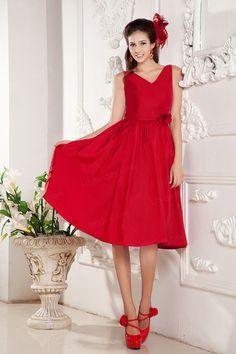 A-Line V-neck Satin Knee Length Color Wedding Dress