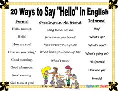 "A great description when teaching a lesson in common ways to say ""hello"" in the English language. English Study, English Words, English Lessons, English Grammar, Learn English, French Lessons, Spanish Lessons, Learn French, English English"
