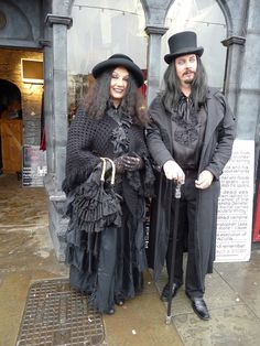 Whitby Goth Weekend / gothic couple / alternative fashion / all black / dapper