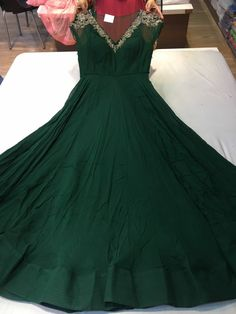 Dark green flowy anarkali with silver neck work and net neckline Dress Indian Style, Indian Dresses, Indian Outfits, Lehenga, Anarkali Dress, Indian Designer Outfits, Designer Dresses, Designer Wear, Shadi Dresses