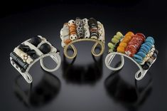 """Woven Cuffs with Semi Precious Stones"" by Tana Acton"