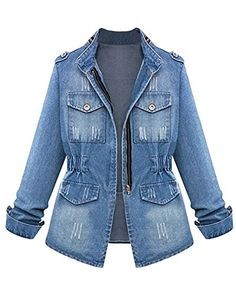 BaZhaHei Womens Plus Size Casual Demin Jacket Ladies Denim Oversize Jeans Chain Jacket with Pocket Turn-Down Collar Sport Coat Looks Total Jeans, Looks Jeans, Demin Jacket, Denim Coat, Bomber Jacket, Jacket 2017, Windbreaker Jacket, Denim Oversize, Coats For Women