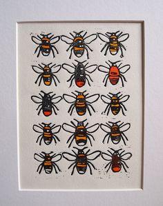 Bumble Bees Lino Print Lino Cut by Tournesollinoprints on Etsy
