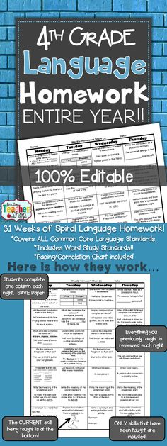 Spiral Language Homework, Morning Work, or Centers for the ENTIRE YEAR of FOURTH GRADE! Aligned with 4th grade Common Core Language standards {Grammar & Word Study}. These sheets are 100% EDITABLE, and come with answer keys. Paid