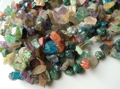 Multi Colour Cubic Zircon Stone Uncut Chips 2 Strands  Rainbow Colour CZ Uncut Chips  Zircon Uncut Chips  17 Inch Long String  Free Shipping
