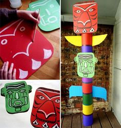 Totem for an Indians themed party / fabriquer un totem indien #indians #party #decoration