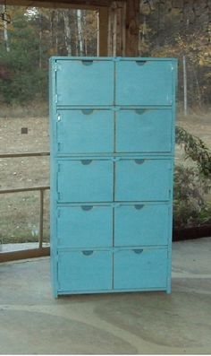 60 Inch Tall Reclaimed Wood Look Dresser Primitive Storage Cabinet Robins Egg…