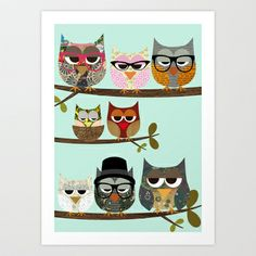 Nerd Owls - Me and my friends collage poster print Art Print by Claudia Schoen - $15.00
