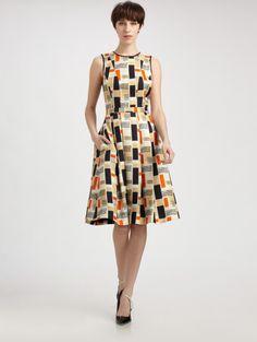 Jason Wu Silk Wool Flounce Dress in Multicolor (camel)   Lyst