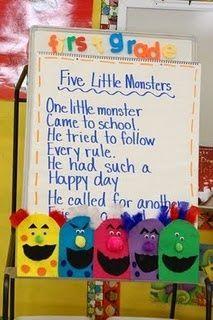 5 little monsters rhyme- Love it!