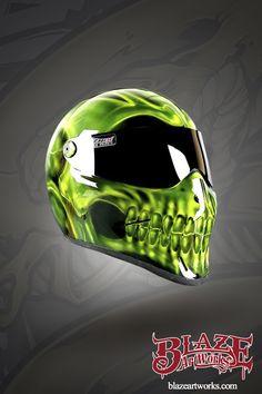 Toxic Green Skull motorcyce helmet Cool Bike Helmets, Biker Helmets, Custom Motorcycle Helmets, Custom Helmets, Custom Bobber, Custom Motorcycles, Green Motorcycle Helmet, Predator Helmet, Skull Helmet