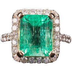 Fabulous Art Deco Colombian Emerald Diamond Gold Ring