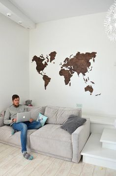 Wall Map of the World Travel Wooden Map Home Office Dorm