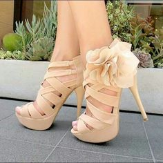 Women's Wedding Shoes Fall Fashion 2017 Holiday Party Outfit Thanksgiving Outfit Beige Open Toe Platform Flora Hollow Out Stiletto Heels Wedding Shoes Edgy Wedding Dresses Shoes Mermaid Wedding Dress Heels for Wedding, Big day Wedding Shoes Heels, Prom Shoes, Dress Shoes, Wedding Guest Heels, Bridemaids Shoes, Edgy Wedding, High Heels For Prom, Cute High Heels, Wedding 2015