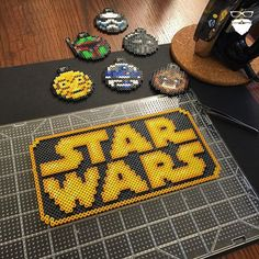 Star Wars logo perler beads by piercepopart: Hama Beads Design, Diy Perler Beads, Perler Bead Art, Pearler Beads, Fuse Beads, Melty Bead Patterns, Pearler Bead Patterns, Perler Patterns, Beading Patterns