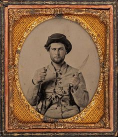 Unkown, [Private James House with Fighting Knife, Sixteenth Georgia Cavalry Battalion, Army of Tennessee], 1861-62, ambrotype