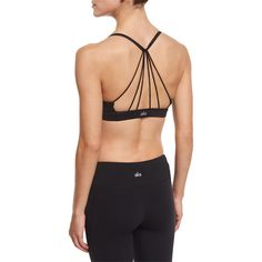 Alo Yoga Sunny Strappy Sports Bra ($57) ❤ liked on Polyvore featuring activewear, sports bras, black glossy, v neck sports bra, strappy sports bra, sweater pullover, alo yoga and v neck pullover