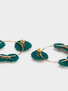 Embroidery Bags, Bead Embroidery Jewelry, Textile Jewelry, Fabric Jewelry, Beaded Embroidery, Fabric Earrings, Fancy Earrings, Rose Gold Earrings, Handmade Accessories