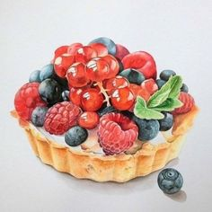 ideas for food art painting desserts Fruits Drawing, Food Drawing, Food Design, Cute Food, Yummy Food, Food Art Painting, Dessert Illustration, Illustration Art, Food Sketch
