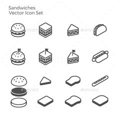 Buy Sandwich Burger Hotdog Vector Icon Set by nanmulti on GraphicRiver. This is a pack of 15 vector line icons set The pack includes EPS and JPG file Thank you so much for purchasing Design Vector, Logo Design, Graphic Design, Burger Icon, Banner Doodle, Logo Outline, Restaurant Icon, Food Icons, Instagram Highlight Icons