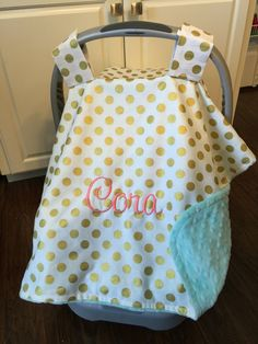 Personalized baby carseat canopy monogram car seat cover custom car seat canopy girl & Personalized baby carseat canopy monogram car seat cover custom ...