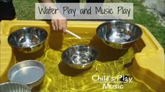 Water play and music play with floating metal bowls