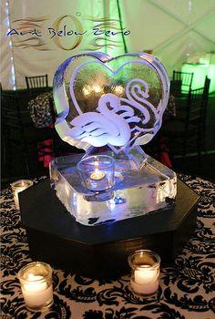 Swans Ice Centerpiece   _Ice Sculpture _Wedding _Events _Centerpieces
