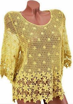 padrão de blusa de renda de crochê
