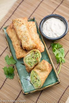 Avocado Egg Rolls w/ Chipotle Ranch Dipping Sauce...these are awesome with the sun dried tomatoes in them!!
