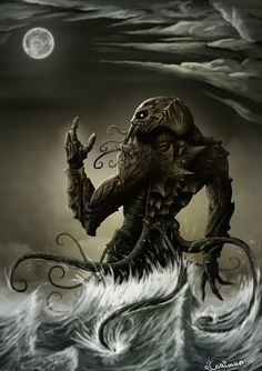 """well known that the great Cthulhu has a particular bond with artists of all sorts. Lovecraft's """"The Call of Cthulhu"""" it's docu. Cthulhu Art, Lovecraft Cthulhu, Hp Lovecraft, Call Of Cthulhu, Dark Fantasy, Fantasy Art, Science Fiction, Dragons, Lovecraftian Horror"""