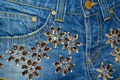 Short with Flowers in Strass - Dondup Extra Light Limited Edition