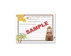baby shower simba | ... Baby Shower Guess the Weight Date Advice Game Cards - Simba Safari