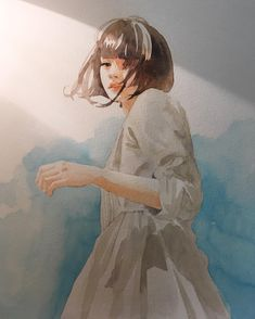 sketch by pencilballad Art And Illustration, Watercolor Illustration, Watercolor Paintings, Art Sketches, Art Drawings, Guache, Gouache Painting, Watercolor Portraits, Art Sketchbook