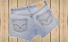 Levis 501 Denim Shorts High Rise Blue Distressed Repaired Frayed Button Fly W32 (Approx Uk 12, Eu 40, Us 8) by BlackcatsvintageUK on Etsy