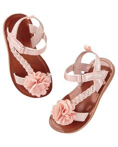 Baby Girl OshKosh Braided Rosette Sandals from OshKosh B'gosh. Shop clothing & accessories from a trusted name in kids, toddlers, and baby clothes. Toddler Flower Girls, Toddler Girl Shoes, Toddler Girl Style, Baby Girl Shoes, Boys Shoes, Girls Flats, Girls Sandals, Shoes Sandals, Girls Shoes Online