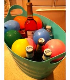 Freeze water balloons to keep your drinks cold without them being soaking wet!