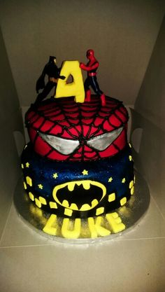 Batman & Spiderman cake