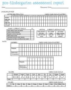 PreK On-going Assessment. Condense and inclusive; a GREAT tool for PreK teachers. I use this a few times a year to track progress on my students. Formative And Summative Assessment, Preschool Assessment, Kindergarten Readiness, Preschool Kindergarten, Classroom Activities, Eyfs Activities, Preschool Education, Preschool Ideas, Classroom Ideas