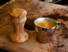 Beautiful wood tamper and espresso shot