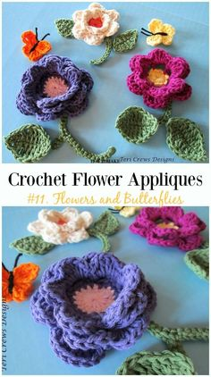 Flowers and Butterflies Free Crochet Pattern-Easy #Crochet #Flower Appliques Free Patterns