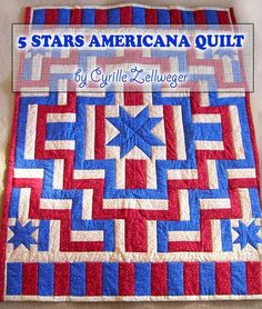 (7) Name: 'Quilting : Five Stars Americana Quilt