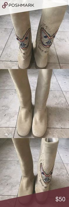 Juicy Couture butterfly fur boots New in box, box is not original, size 9. Super fab tall  boots, warm and comfortable. Juicy Couture Shoes Winter & Rain Boots