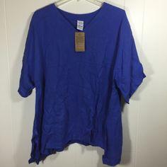Match Point La Fixsun XL Linen Top Blue Short Sleeve Oversized V Neck Kimono New