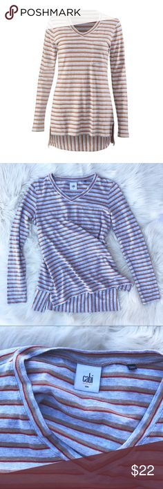 """CAbi skipper tee size small multicolor stripe jersey tee • tunic length, side slits • vguc • p2p 17.5"""", s2h 24"""" CAbi Tops Tees - Long Sleeve"""